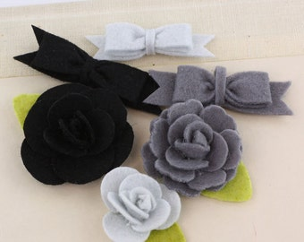 Marcelle Tuxedo Black Grey shade Felt blooms and bows fabric flowers with varying styles