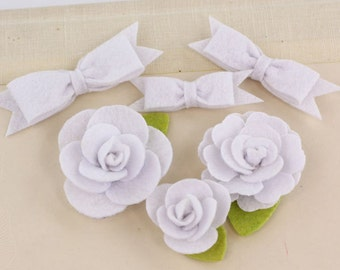 Marcelle Spotlight White shade Felt blooms and bows fabric flowers with varying styles