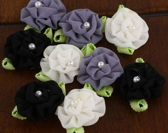 BRAND NEW - Trixie Cinder Black grey white shade Mini Fabric Flowers with pearl center