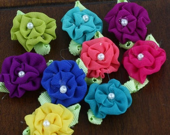 BRAND NEW - Trixie Bright assorted color Mini Fabric Flowers with pearl center