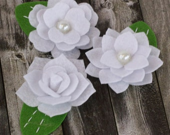 BRAND NEW: Hermosa - White Felt blooms fabric flowers with varying styles