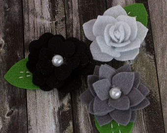 Hermosa - Grey Black shade  Felt blooms fabric flowers with varying styles