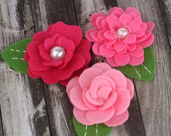 BRAND NEW: Hermosa - Rose Pink shade  Felt blooms fabric flowers with varying styles