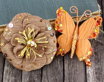 30% OFF Sale Clearance : Prima Soiree Copper Sequin and Glittered Paper flower with Butterfly