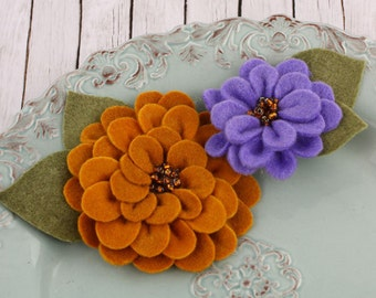 Prima: Cascade Autumn pumpkin lavender Gorgeous full Felt blooms fabric flowers with beaded centers in varying colors and styles
