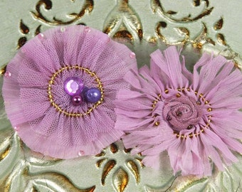 Zazi Collection - Lilac Lavender Chiffon and tulle mixed fabric flowers with beaded lace centers & sequin accents -