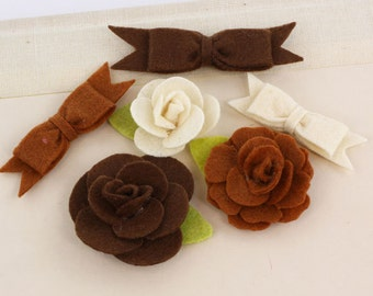 Marcelle Orchestra Brown tan shade Felt blooms and bows fabric flowers with varying styles