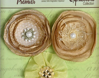 Fabric Flowers - Camel Cream Champagne shade floral embellishments Layered fabric flowers with a crystal beaded pearl rhinestone centers