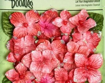 Fabric Flowers Velvet Hydrangeas - Geranium Tangerine floral embellishments with bead center
