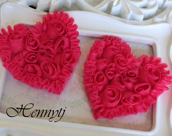 Set of 4 Beautiful Shabby Chic Chiffon Heart Appliques - Shocking Pink  3 inches