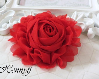 """New: Gladys Collections - RED 5"""" chiffon Rolled Rose Large flower with layers Bridal Favor Hair Applique Brooch headband"""