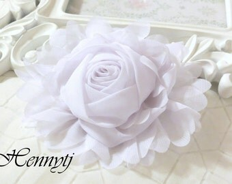 "New: Gladys Collections - WHITE 5"" chiffon Rolled Rose Large flower with layers Bridal Favor Hair Applique Brooch headband"