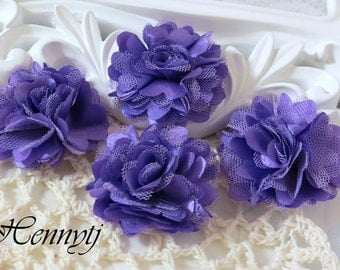 4 pcs - New Tiny Size Petite Satin and Tulle Puff Mesh Flowers without hair clip wedding bridal bridesmaid brooch flowers - LAVENDER