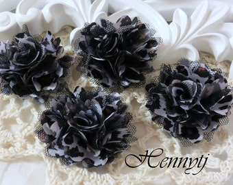 4 pcs - New Tiny Size Petite Satin and Tulle Puff Mesh Flowers without hair clip wedding bridal bridesmaid brooch flowers - LEOPARD