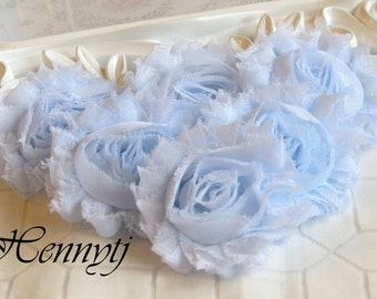 Set of 6 Shabby Frayed Vintage look Chiffon Rosette Flowers - Pale Blue