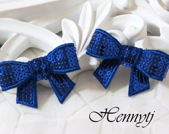 New to the Shop: Set of 4 Royal Blue Mini SEQUIN BOW Appliques 2 inch size