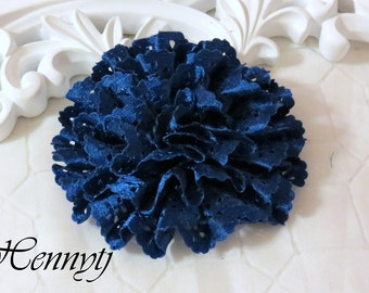 Maureen Collections - 2 pcs Royal Blue  Satin Eyelet Fabric Rosette Puff Flower Applique Brooch headband