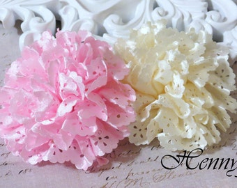Maureen Collections - Set of 2  Pink and  Cream Champagne Satin Eyelet Fabric Rosette Puff Flower Applique Brooch headband