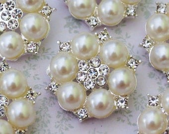 6 pcs - 25mm Silver Nickel Metal  Rhinestone Pearl FLAT BACK Buttons  - wedding / hair / dress / garment accessories / Flower Center.