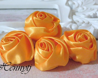 Set of 4 -  50mm Adorable Rolled Satin Rose Bud Rosettes Fabric flowers - YELLOW Gold