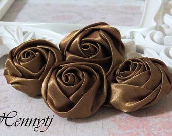 Set of 4 -  50mm Adorable Rolled Satin Rose Bud  Rosettes Fabric flowers - COFFEE Brown