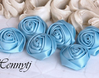 New to the Shop: Set of 6 - 25mm Adorable PETITE Rolled Satin Rose Satin Rosettes Fabric flowers - Sea Blue