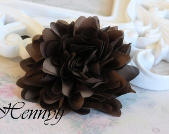 New to the shop: Dark Brown - Dahlia Silk Flower Millinery for Bridal Sashes, Fascinator or Hat Design, or Home Decor