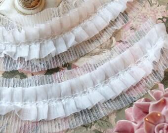 3 yards Chiffon Fabric Embroidery Lace Trim White with tulle bridal wedding bridesmaid headband skirt dress