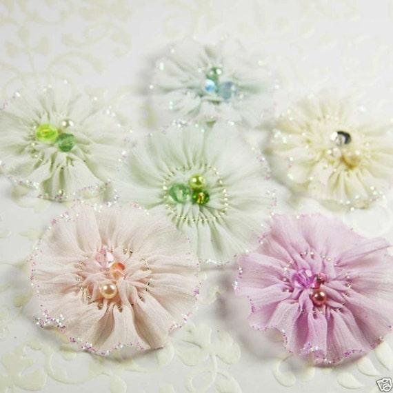 Ballerina blooms Recital Silk Glittered Fabric Flowers