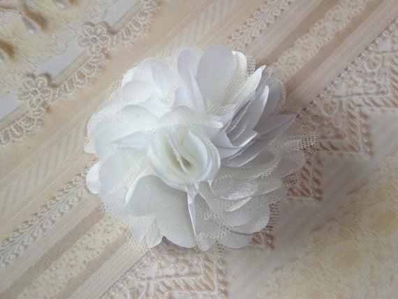 2 pcs - 3'' Satin mesh silk flowers Flat Back wedding bridal bridesmaid brooch flowers - White