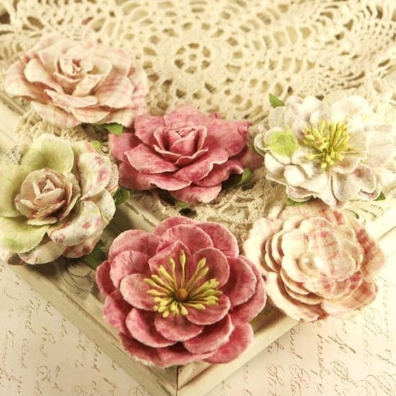 New: Sparkling - Paloma Collection Mulberry Paper Flowers embellishments for scrapbooking cardmaking album journal and more