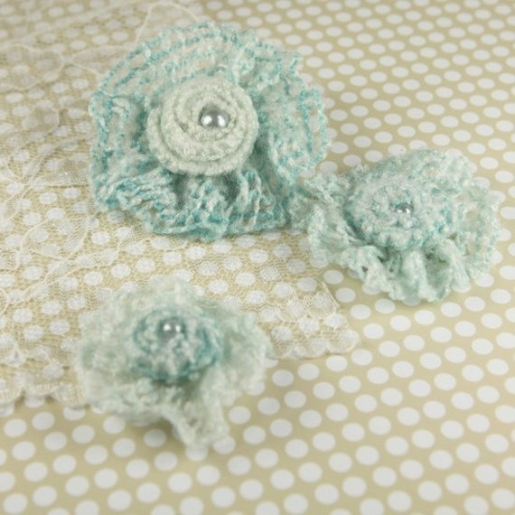 Prima Fabric flowers Sophie Collection - Aqua Crochet Flowers. hair accessories. Applique
