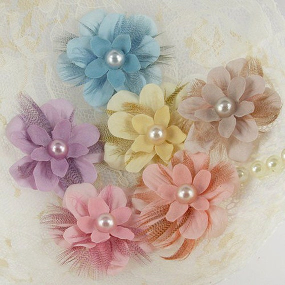 LIMITED QUANTITY: Gwendolyns Bluebird Feather Fabric Flowers (6 pcs)