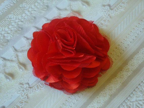 2 pcs - 3'' Satin mesh silk flowers WITH Clip and Pin hair clip wedding bridal bridesmaid brooch flowers - Red Lips