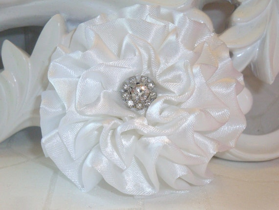 "Giselle Collections - White 2.5"" Satin Flower with Rhinestone Center"