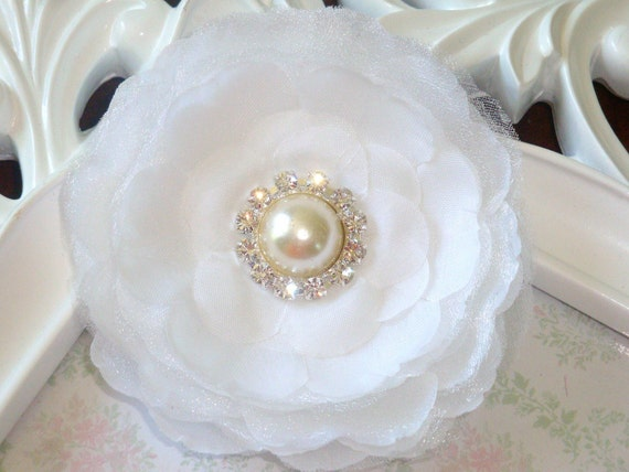 3 1/2'' inch The Clara flower White silk flowers with pearl and diamond rhinestone hair clip headbands brooches fascinators wedding bride