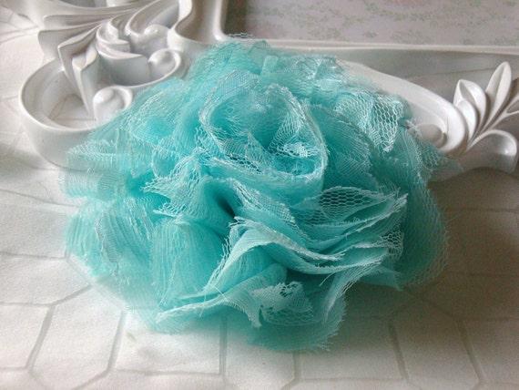 1 pc Large Shabby Chic Frayed Chiffon Mesh and Lace Rose Fabric Flower - Mint Green / Seafoam