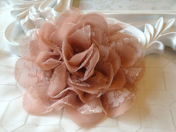1 pc Large Shabby Chic Frayed Chiffon Mesh and Lace Rose Fabric Flower - Dusty Peach