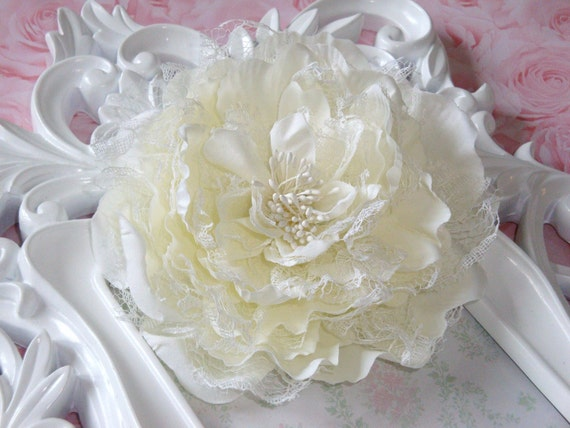 Ivory 5'' peony fabric and lace flower with hair clip alligator clip and brooch pin hair band pin bow clip clipie