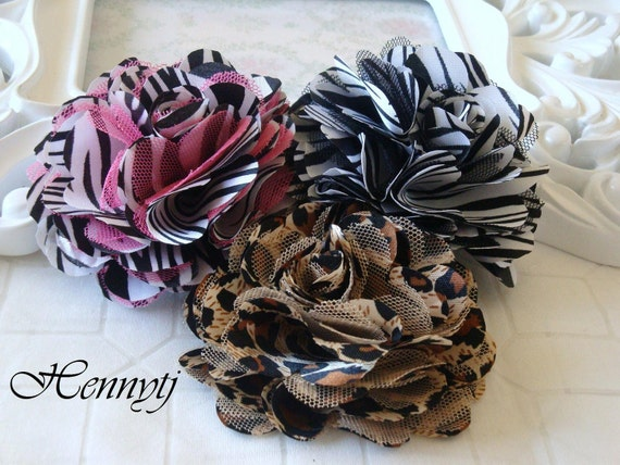3'' Satin mesh silk flowers flat back wedding bridal bridesmaid brooch flowers - Leopard, Hot PInk Zebra, White Zebra
