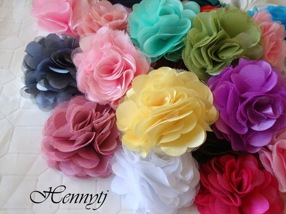 Pre-Packed Assorted by the dozen - 12 Variety color Satin and Mesh Silk Fabric Flowers