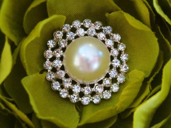 8 pieces - 25mm Metal Acrylic Pearl Rhinestone Buttons - wedding / hair / dress / garment accessories Flower Center