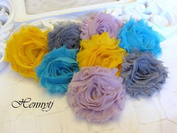 Set of 8 Shabby Frayed Vintage look Chiffon Rosette Flowers - Botanical Colors Applique