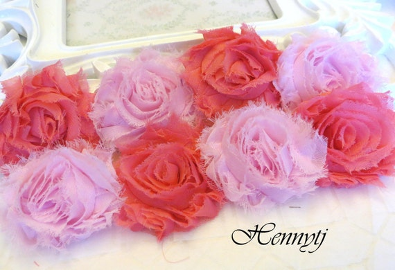 Set of 8 Shabby Frayed Vintage look Chiffon Rosette Flowers - Cotton Candy Colors Applique. Valentine's Day flowers.