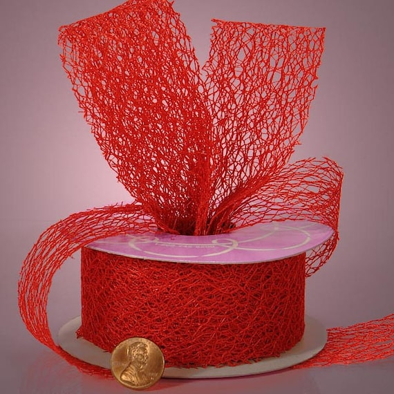 3 yards of Red Random Fiber Mesh Cut edge Ribbons