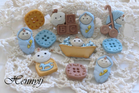 11 pcs Assorted Style Baby Boy Buttons Set 2