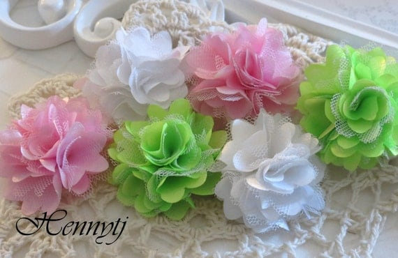 Set of 6 - New Tiny Size Petite Satin and Tulle Puff Mesh Flowers wedding bridal bridesmaid brooch flowers - White / Pink / Lime