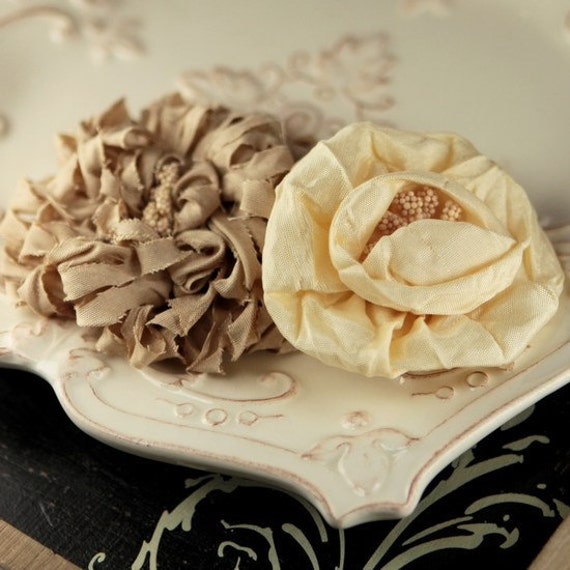 Dechire Collection: Creme - 2 pcs  Ivory Mocha Rolled Rose Rosette Fabric Flowers Toffee Champagne. Silk Rosette