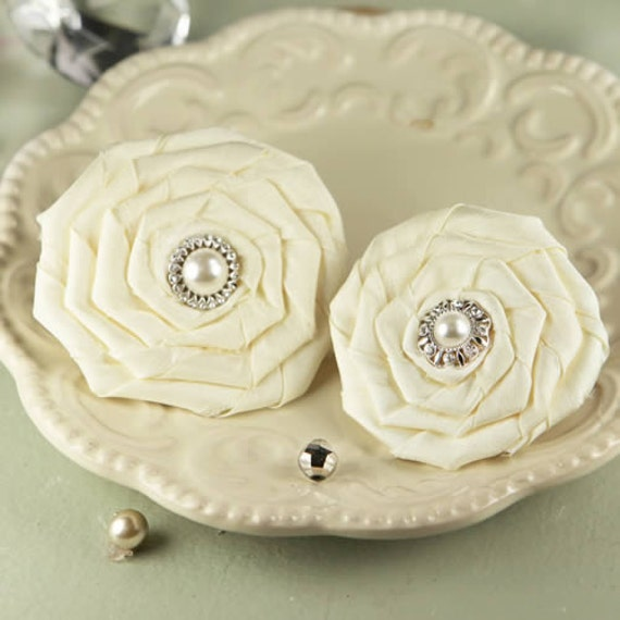 Coiled Pearls - Emily ivory Fabric Flowers