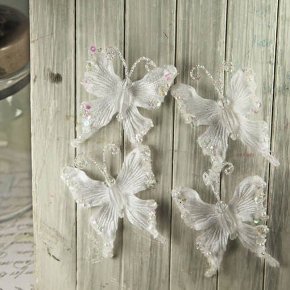 Fantasy Butterflies - Snow white. Glittered and Beaded White Fabric Wired Butterflies.